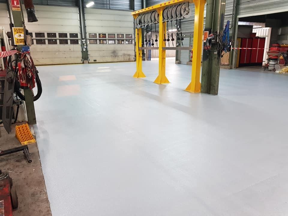 Rénovation atelier maintenance mécanique - Transport de personnes - Promatec sol résine